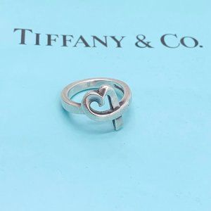 Authentic Tiffany & Co silver heart ring size 5.25